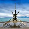 Solfar (Sun Voyager) sculpture on Saebraut in Reykjavik