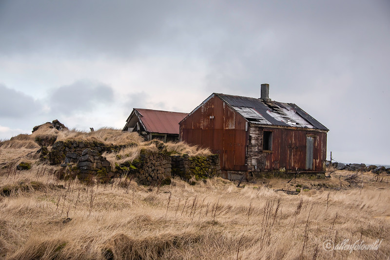 Old sod house and barn, Hafnir Reykjanes Peninsula, Iceland