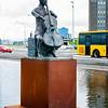 Kristine K Stevens Musician statue in front of Harpa, Reykjavik