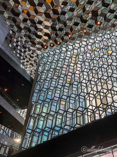 Facade, ceiling and staircase, Harpa Concert Hall, Reykjavik, Iceland