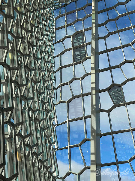 Detail of facade and reflections, Harpa Concert Hall, Reykjavik, Iceland