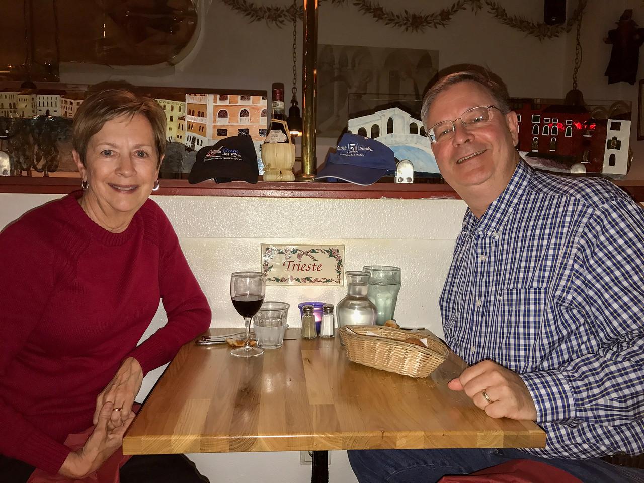 Robin and Don at Italian restaurant