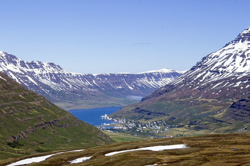 Views of Seydisfjordur from above the town