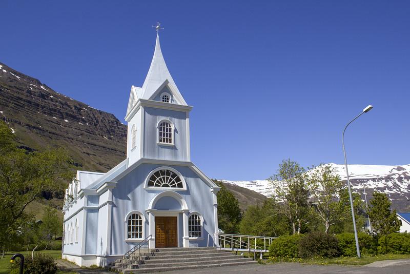 Blue Church (also known as Seyðisfjarðarkirkja)