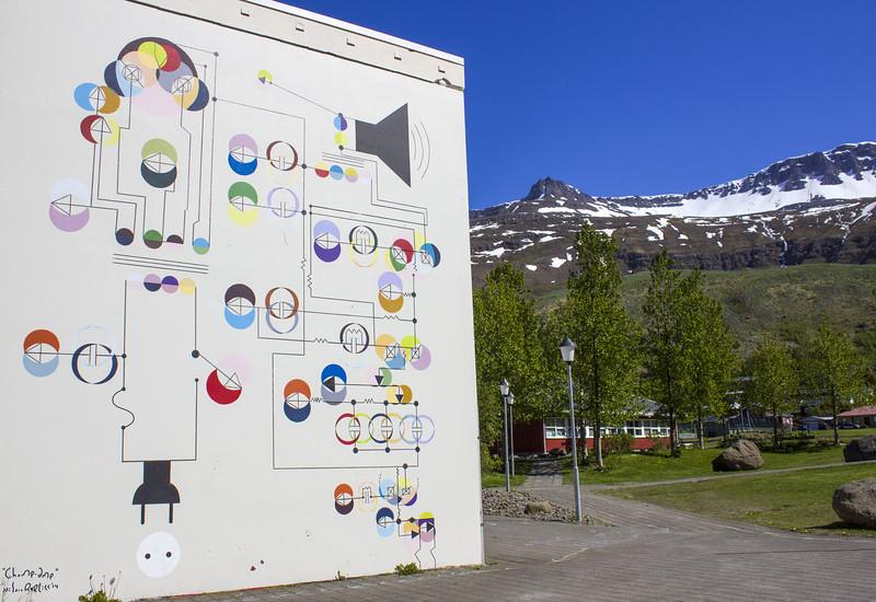 Interesting mural / street art / public art in Seydisfjordur Iceland