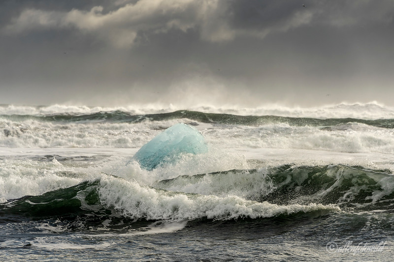 Blue ice growler being tumbled in the storm waves, Diamond Beach, Jökulsárlón, Iceland