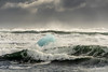 Blue ice growler being tumbled in the storm waves, Diamond Beach, Jökulsárlón, Iceland