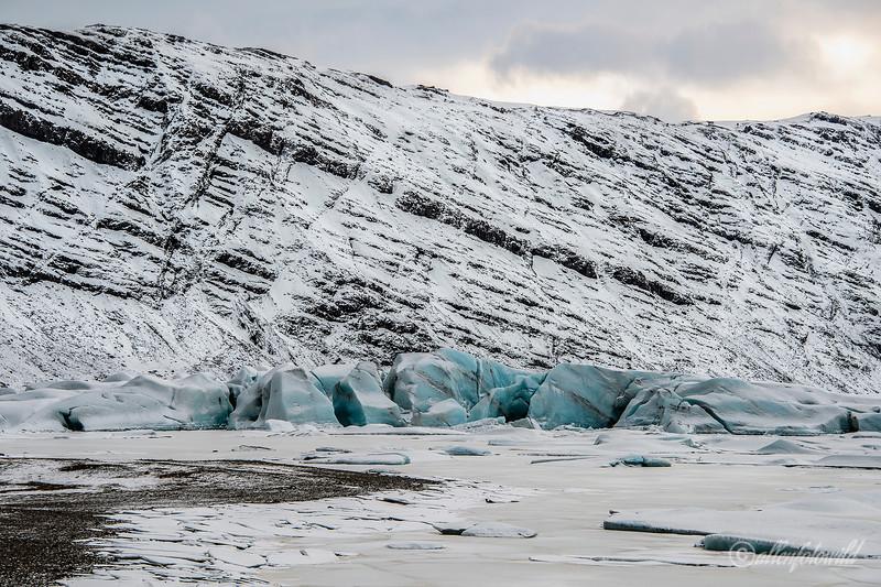 Jumbled blue ice at the top of the Heinabergsjökull glacier, Vatnajökull National Park, Iceland