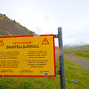 Warning sign along the F570 road leading to the  Snæfellsjökull Glacier