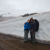 Margaux and Arif posing with the snow walls that line the F570 near Snæfellsjökull Glacier