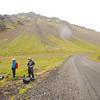 Equipment readjustment as we start off in the rain towards Snæfellsjökull Glacier