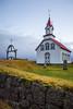 A small white church, Kotstrandarkirkja near Hveragerdi, southern Iceland.