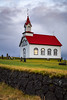 A small white church, Kotstrandarkirkja near Hveragerdi, southern Iceland.