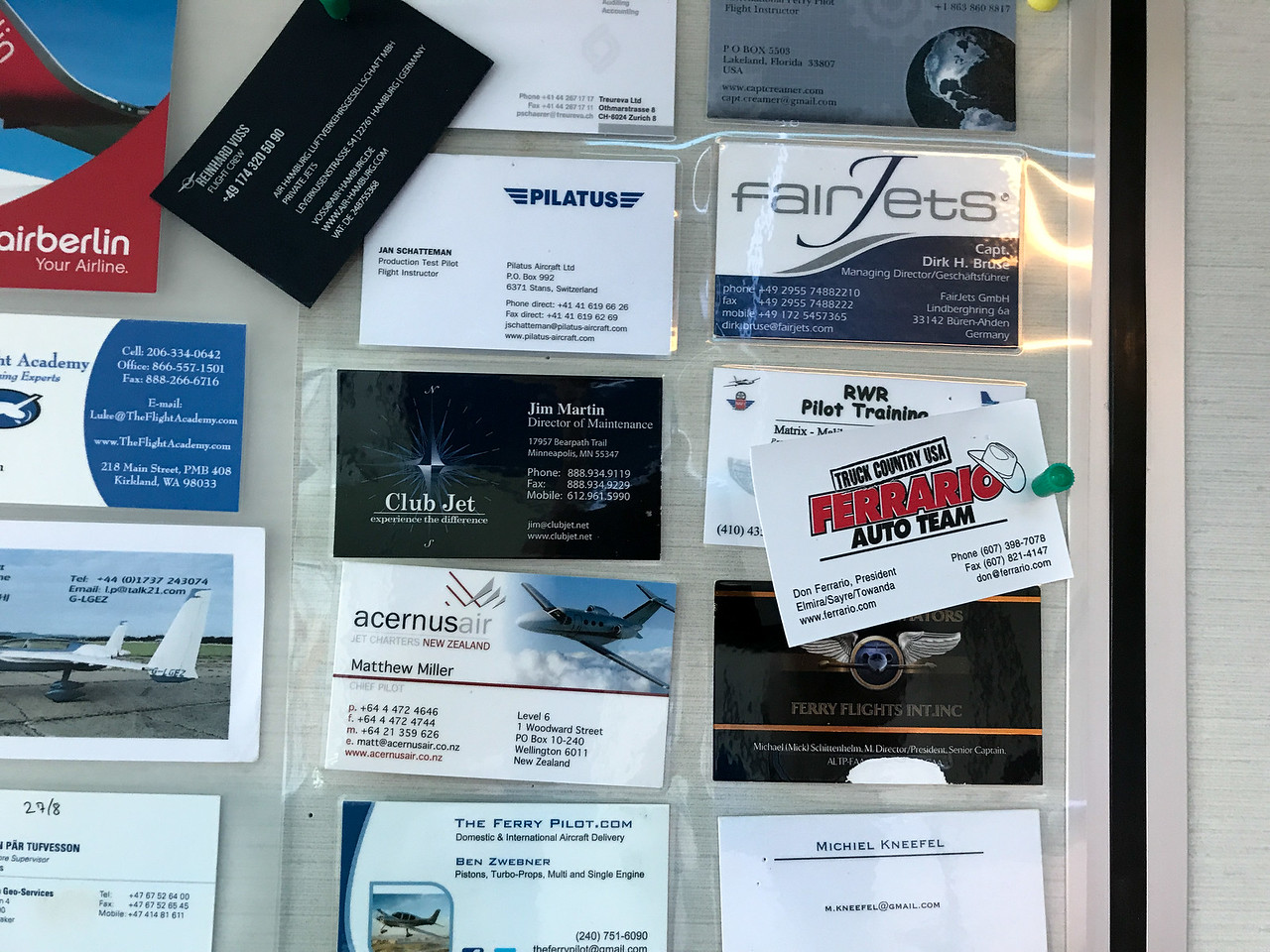 Pilots post business cards.  RWR Pilot Training is our buddy.