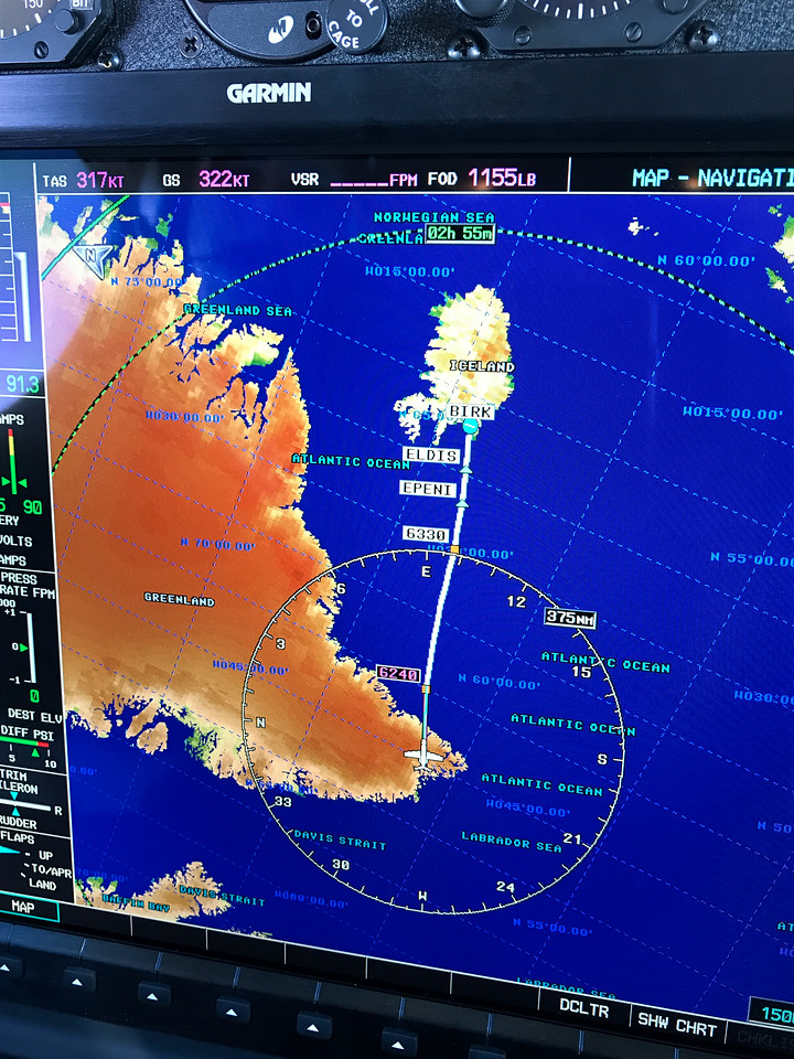 Greenland to Iceland, 700 miles.  Nothing but water between.