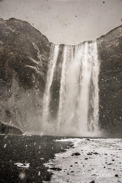 Waterfall and snowfall
