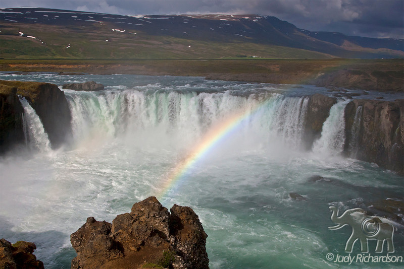 "Goðafoss Rainbow ~ appropriate as the falls are known as ""Waterfalls of the Gods"""