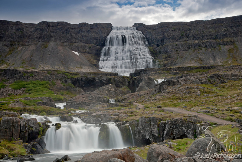 Dynjandi (also known as Fjallfoss) has 7 named falls and is in the remote Westfjords (Vestfirðir)~large fjord of Arnarfjordur.