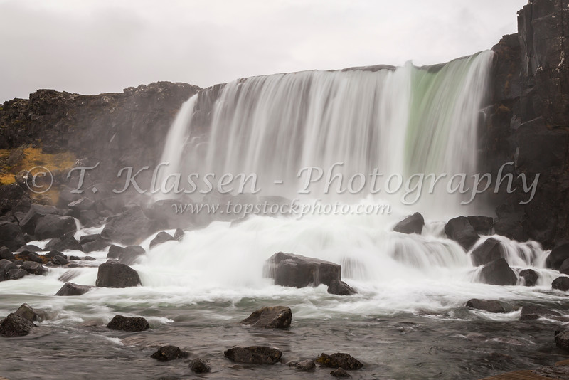 The Öxarárfoss waterfall on the Oxara River in Þingvellir National Park, Iceland.