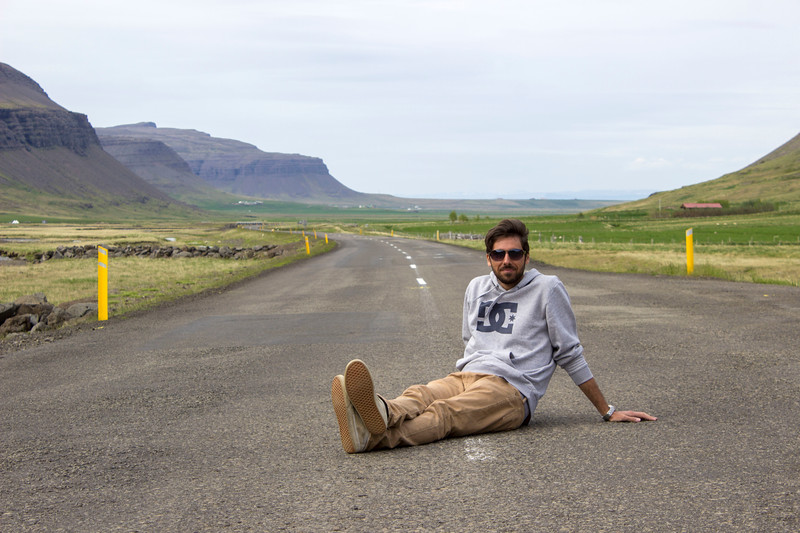 Middle of the road photos in the Westfjords Iceland