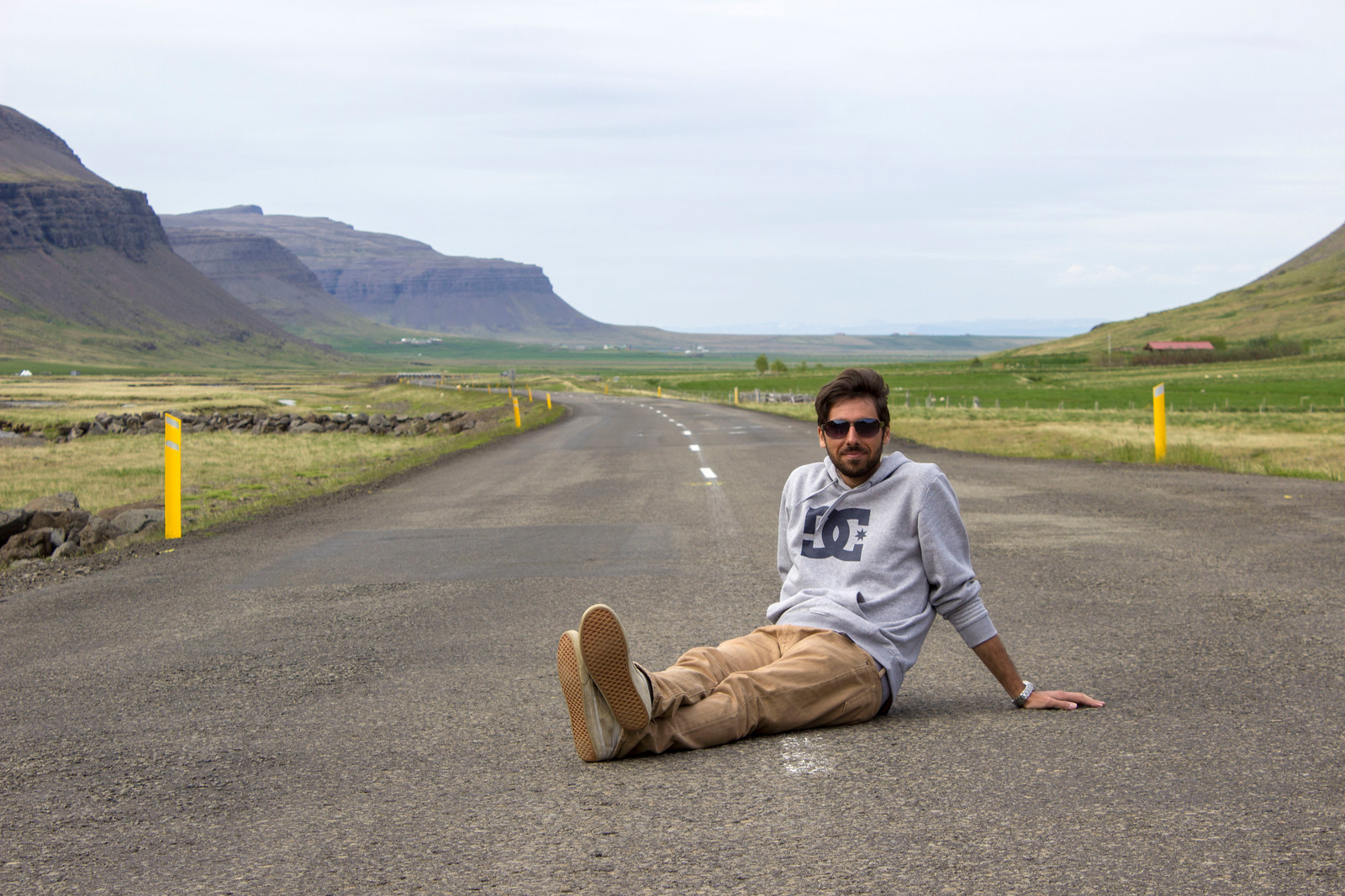Sitting in the road in the Westfjords, Iceland. On the way to Latrabjarg.