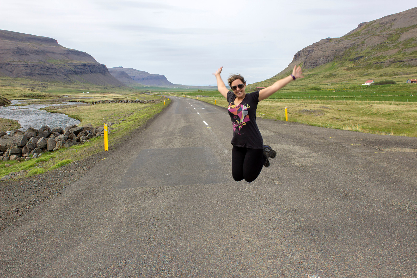 In the Westfjords, where there aren't many people or cars. Obligatory jumping in the road picture, Iceland.