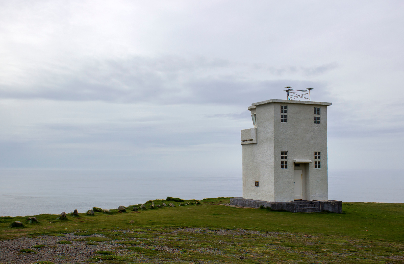 Bjargtangar lighthouse at Latrabjarg bird cliffs in Westfjords, Iceland.
