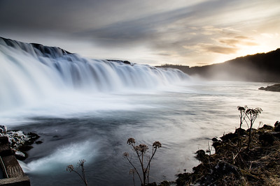 Icelandic Waterfall at Sunset