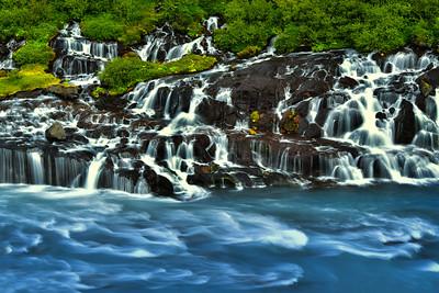 Waterfalls series of Hraunfossar, Iceland