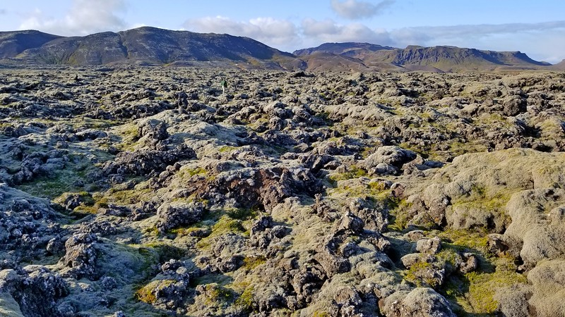 Can you see the other person searching in the moss covered lava field?
