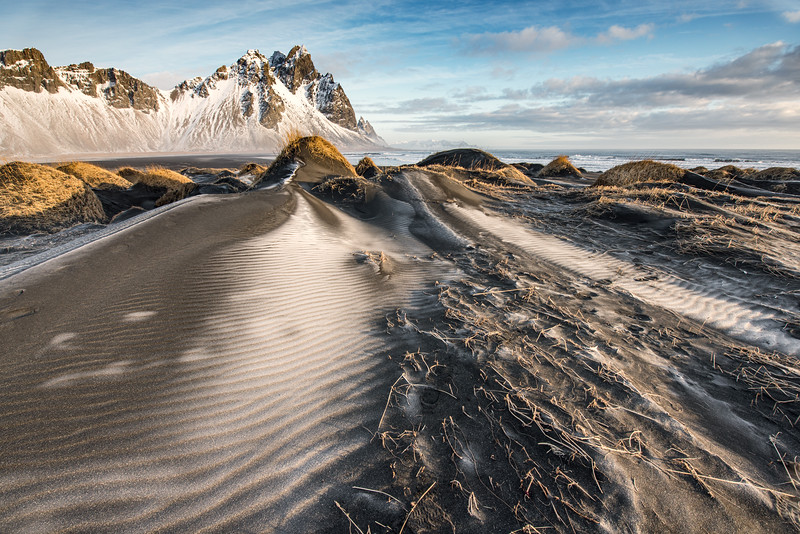 Sand dunes and the Vestrahorn