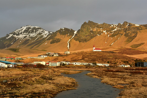 Vik and Church and mountains