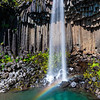 Svartifoss, a waterfall in southern Iceland, cascades over ancient basaltic columns.