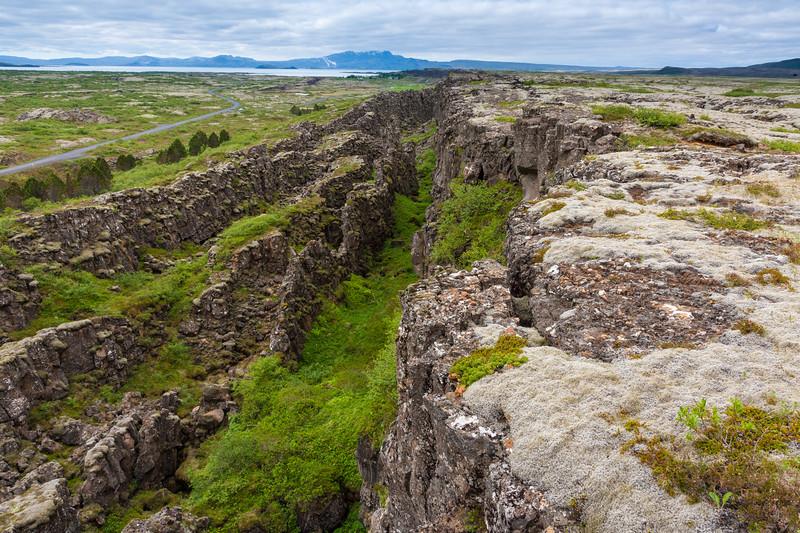 View of volcanic rift zone near Thingvellir, Iceland.