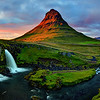 Panoramic Sunset view of kirkjufellsfoss after sorm