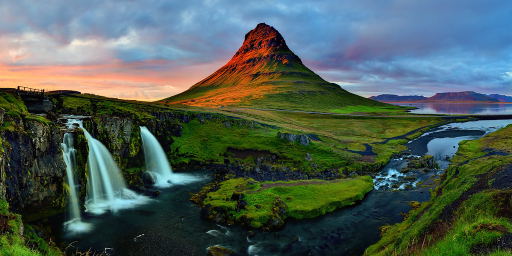 Panoramic Sunset view of kirkjufellsfoss after storm