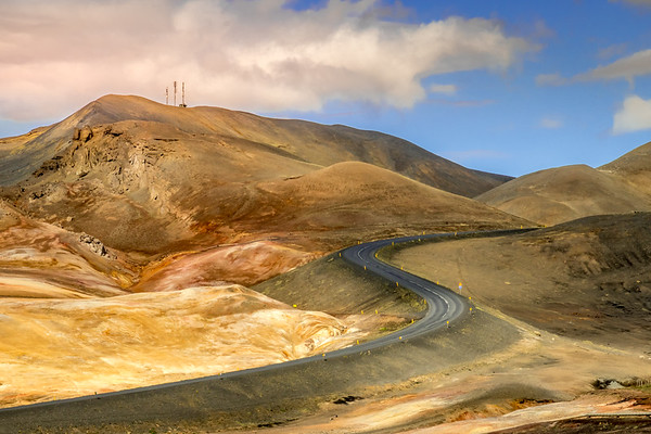 Curvy Mountain Road - Mývatn, Iceland