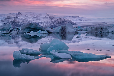 Sunset at Jokulsarlon