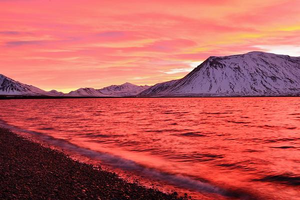 Sunrise lighting up the fiord