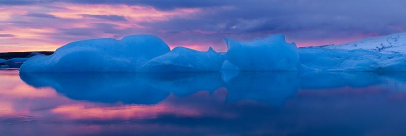 Jokulsarlon lagoon iceberg at dusk, Iceland