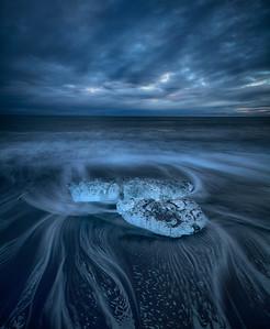 Iceberg on black sand, Iceland