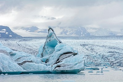 Jokulsarrion Glacial Lagoon, floating icebergs, East Iceland