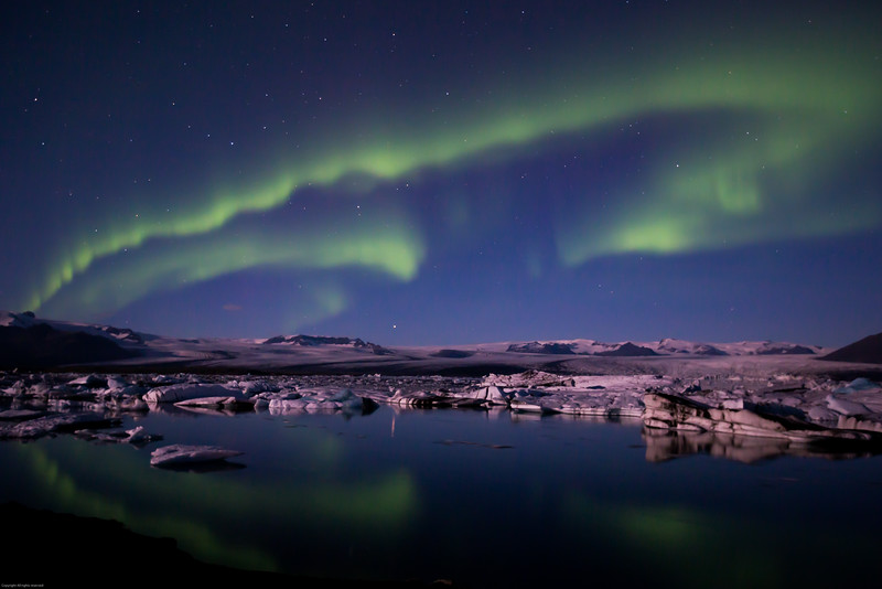 Aurora Lights over the Jökulsárlón Lagoon