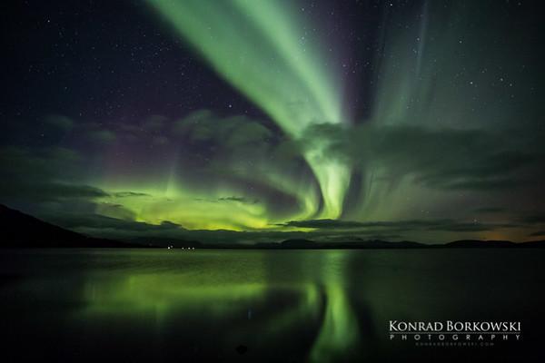 Norhtern Lights over Þingvallavatn - rift valley lake in southwestern Iceland