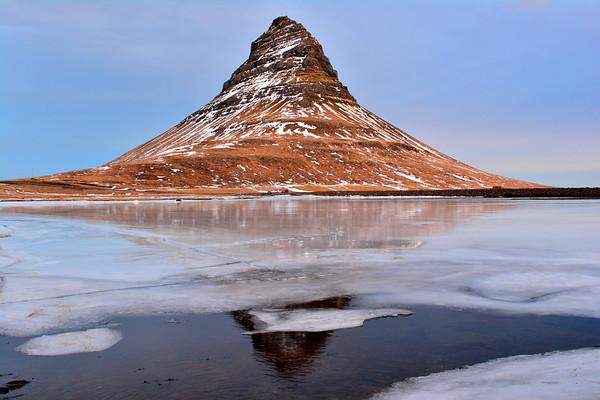 Vivid reflection of Kirkjafell