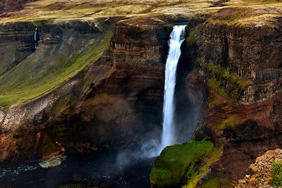 Powerful haifoss waterfall, Iceland