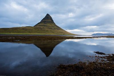 Kirkjufell and reflection in lagoon