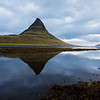 Kirkjufell and reflection in lagoon