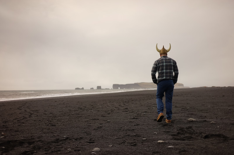 The black sand beaches along the coast.  This one is Reynisfjara. He did take it off btw.