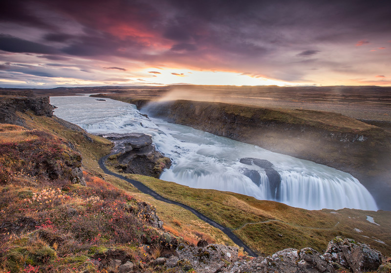 Iceland - Gullfoss Waterfall Sunrise